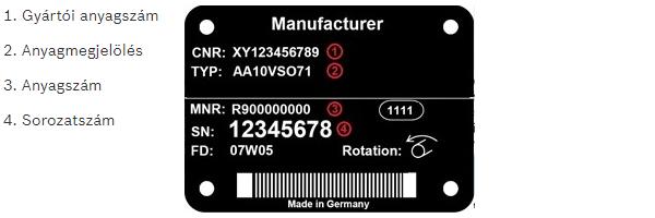 Bosch Rexroth hidraulika szivattyú adattáblája